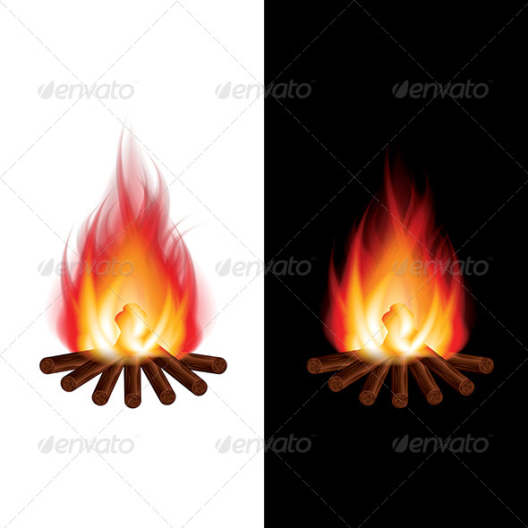 Bonfire on Black and White Background Vector - Organic Objects Objects