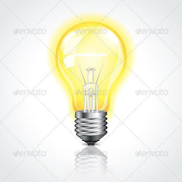 Glowing Lightbulb Vector Illustration - Man-made Objects Objects