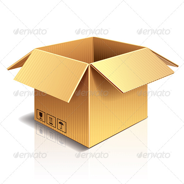 Opened Cardboard Box Vector Illustration - Miscellaneous Vectors