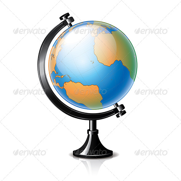 Globe Isolated on White Vector - Man-made Objects Objects