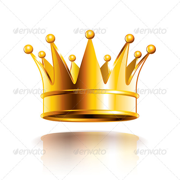 Glossy Golden Crown Vector Illustration - Man-made Objects Objects