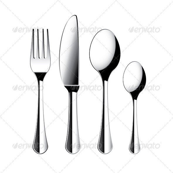 Fork, Knife and Spoon Cutlery Isolated Vector - Man-made Objects Objects