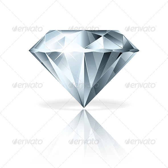 Diamond Isolated on White Vector Illustration - Man-made Objects Objects