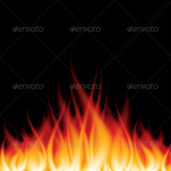 Burning Fire on Black Vector Illustration - Organic Objects Objects