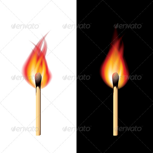 Burning Match Black and White Background Vector - Organic Objects Objects