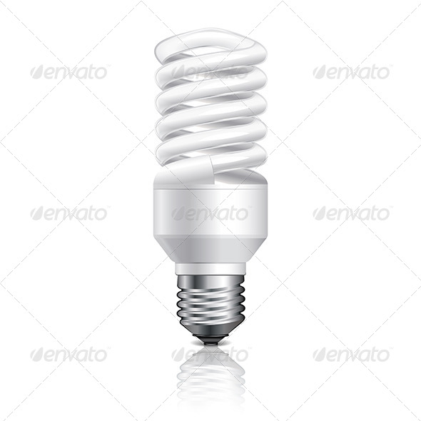 Energy Saving Lamp Isolated on White Vector - Man-made Objects Objects