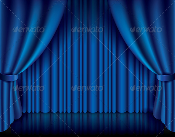 Blue Curtain Vector Illustration - Backgrounds Decorative