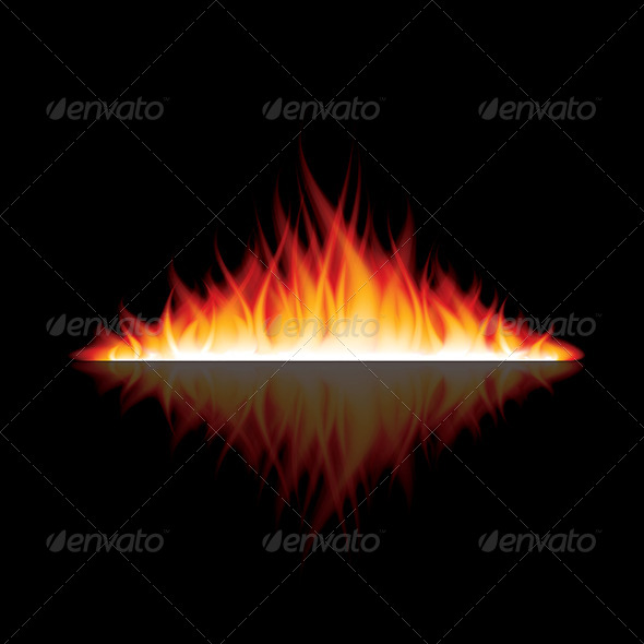 Burning Fire with Reflection on Black Vector - Organic Objects Objects
