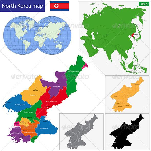 North Korea Map - Travel Conceptual
