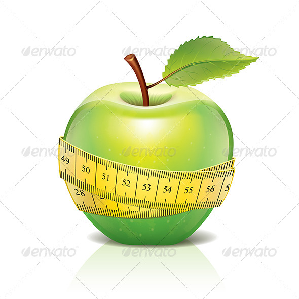 Green Apple with Measuring Tape Isolated on White - Food Objects