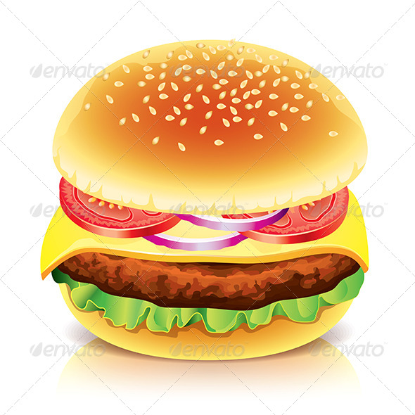 Hamburger Isolated on White Vector Illustration - Food Objects