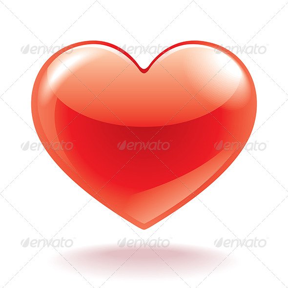 Red Heart Isolated on White - Valentines Seasons/Holidays