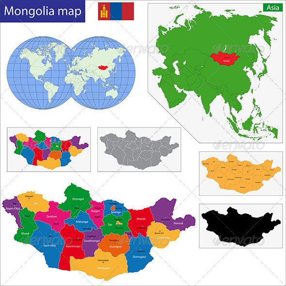 Mongolia Map - Travel Conceptual