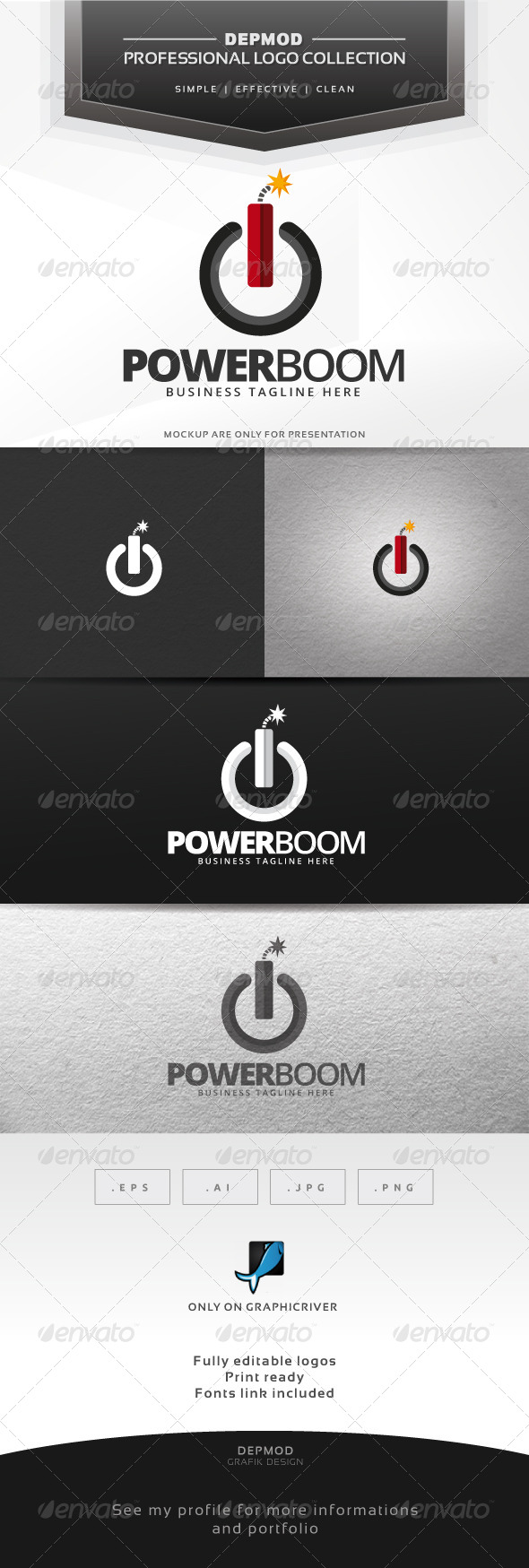 Power Boom Logo - Symbols Logo Templates