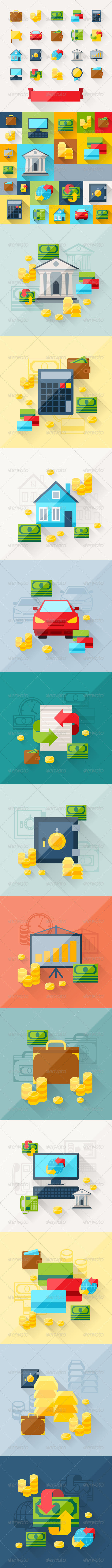 Backgrounds with Banking Icons in Flat Style - Concepts Business