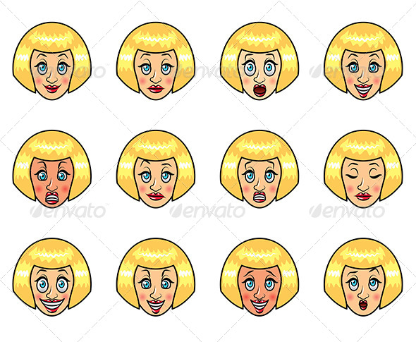 Woman's Emotions Cartoon Set - People Characters