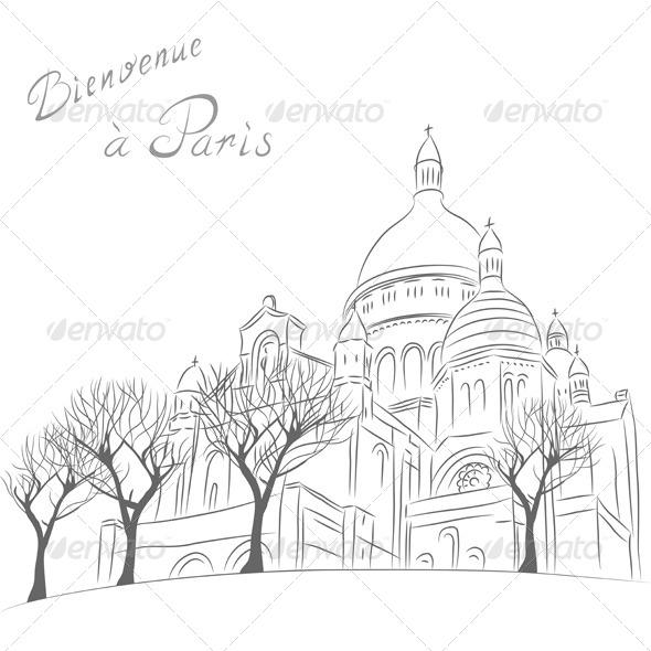 Sacre Coeur in Paris - Travel Conceptual