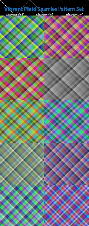 Vibrant Plaid Seamless Pattern Set - Patterns Decorative
