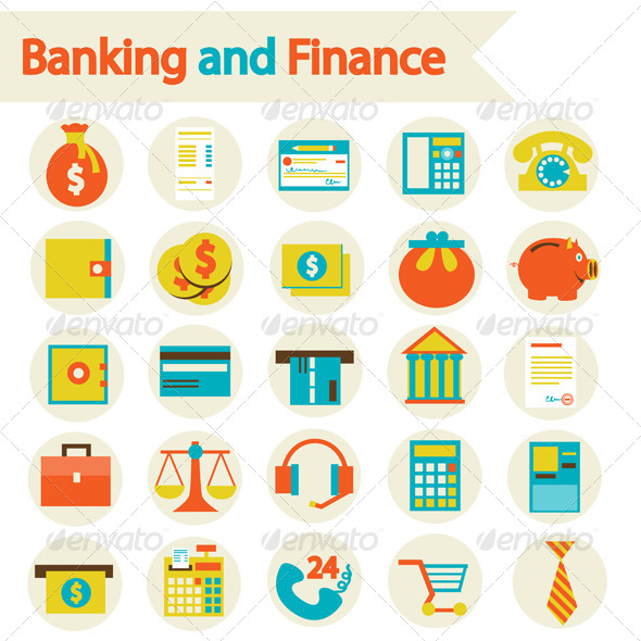 Banking And Finance Set Icons - Business Icons