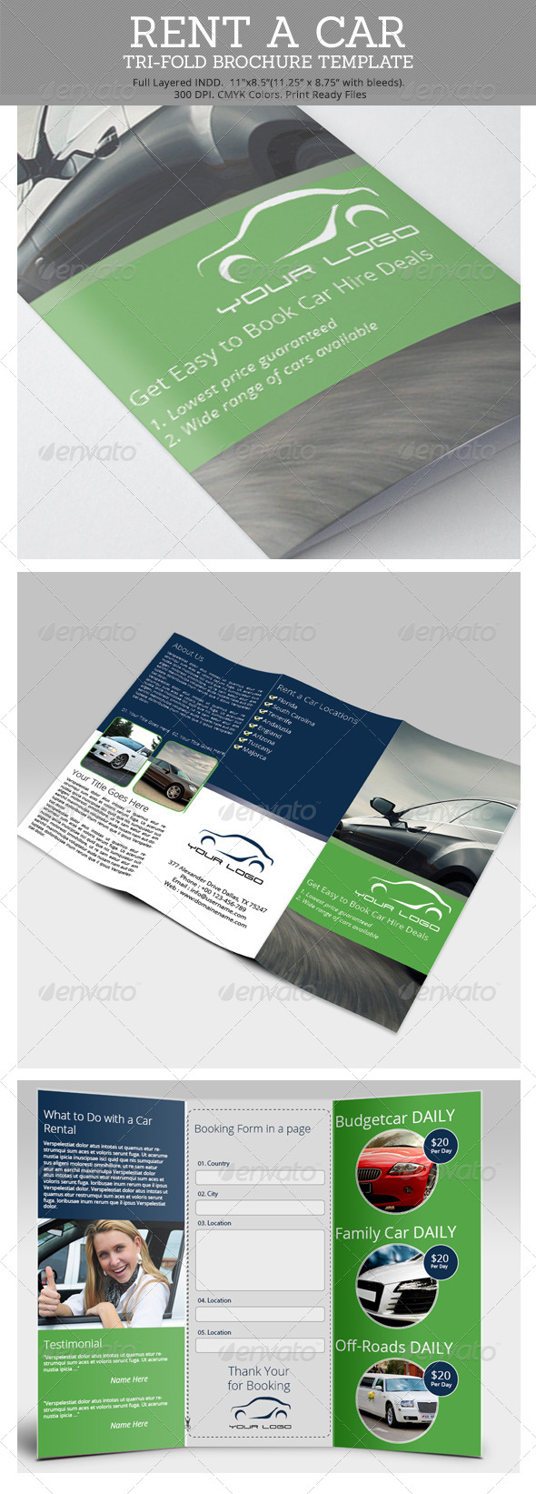 Rent a Car Tri-Fold Brochure Template - Brochures Print Templates