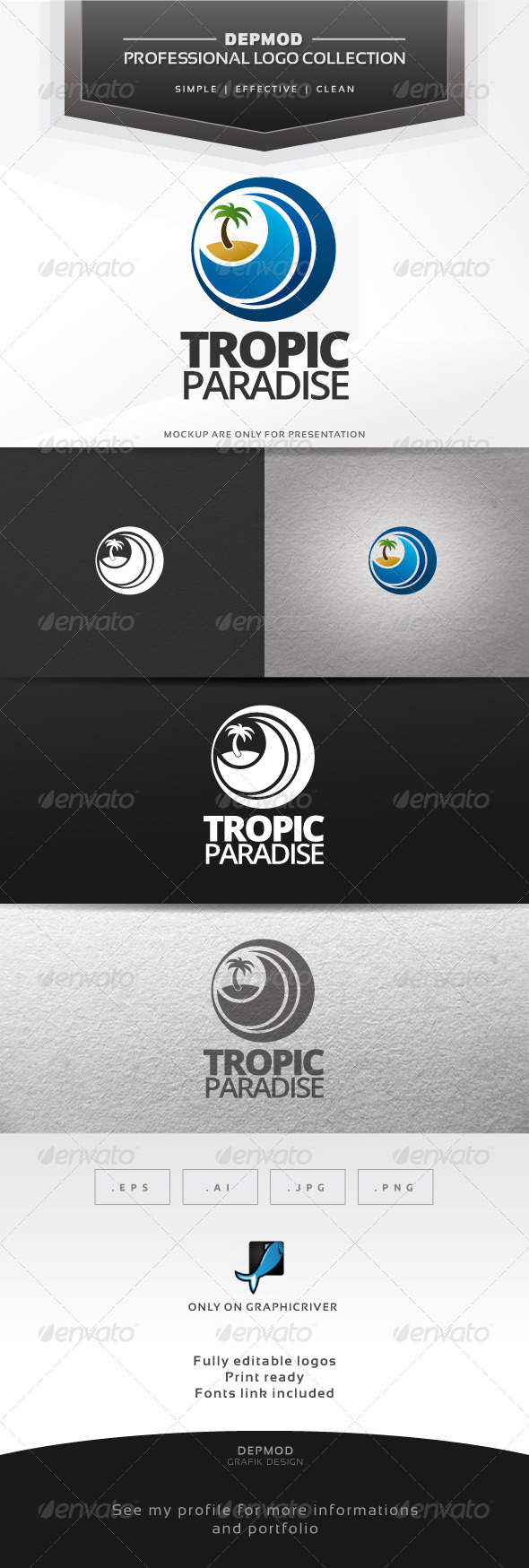 Tropic Paradise Logo - Nature Logo Templates