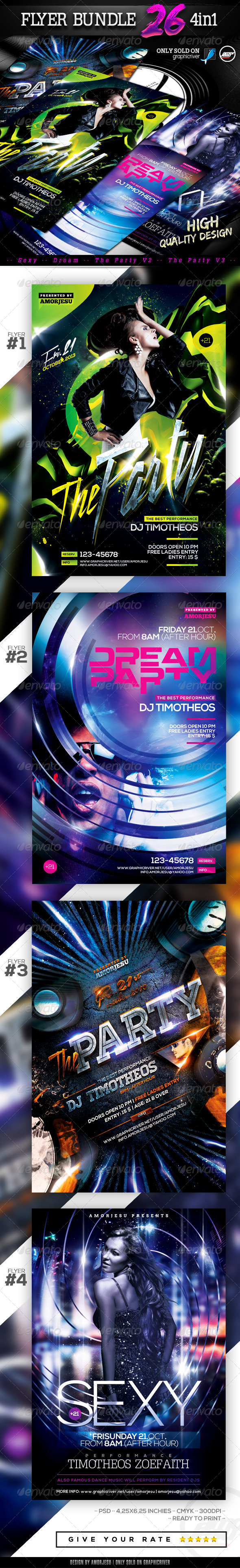 Flyer Bundle Vol26 - 4 in 1 - Clubs & Parties Events