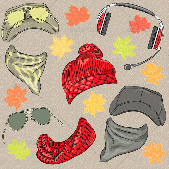 Hipster Autumn Accessories Set - Man-made Objects Objects