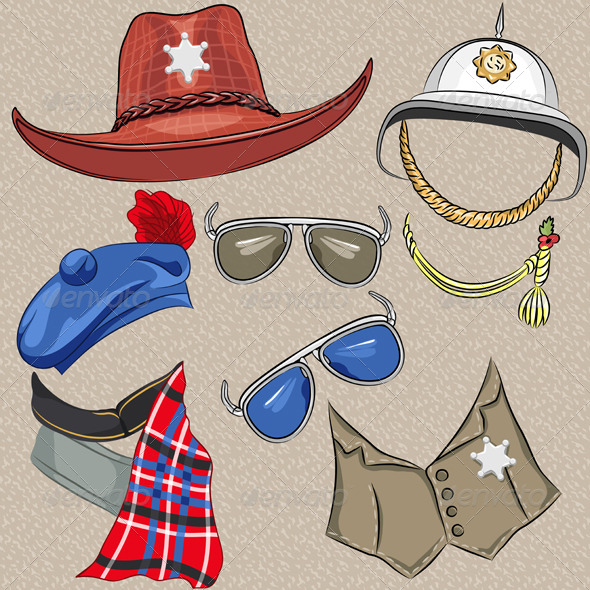 Set of Military and Sheriff Accessories - Man-made Objects Objects