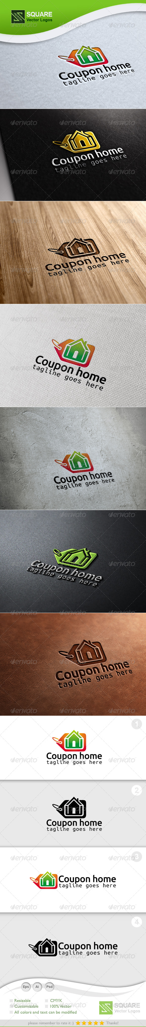 Coupon, Home Vector Logo Template - Buildings Logo Templates