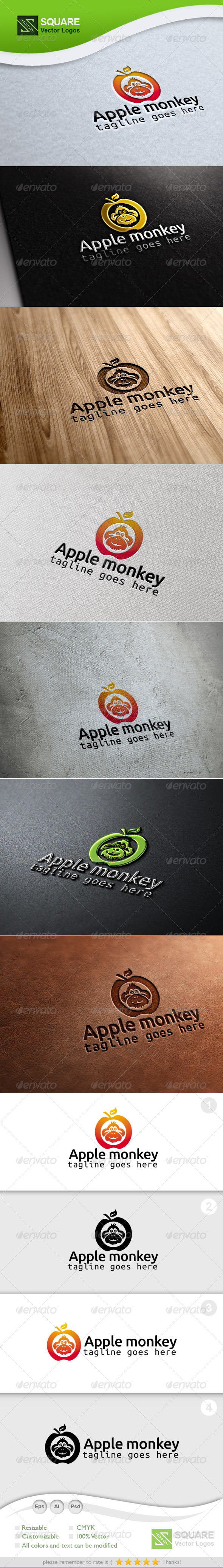 Apple, Monkey Vector Logo Template - Animals Logo Templates