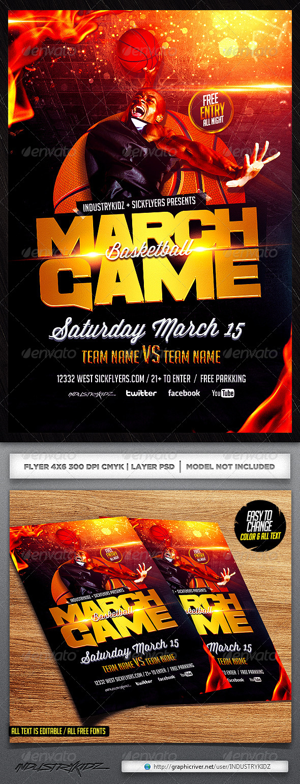 March Game Basketball Flyer Template - Sports Events
