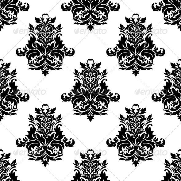 Foliate Arabesque Motif Seamless Pattern - Patterns Decorative