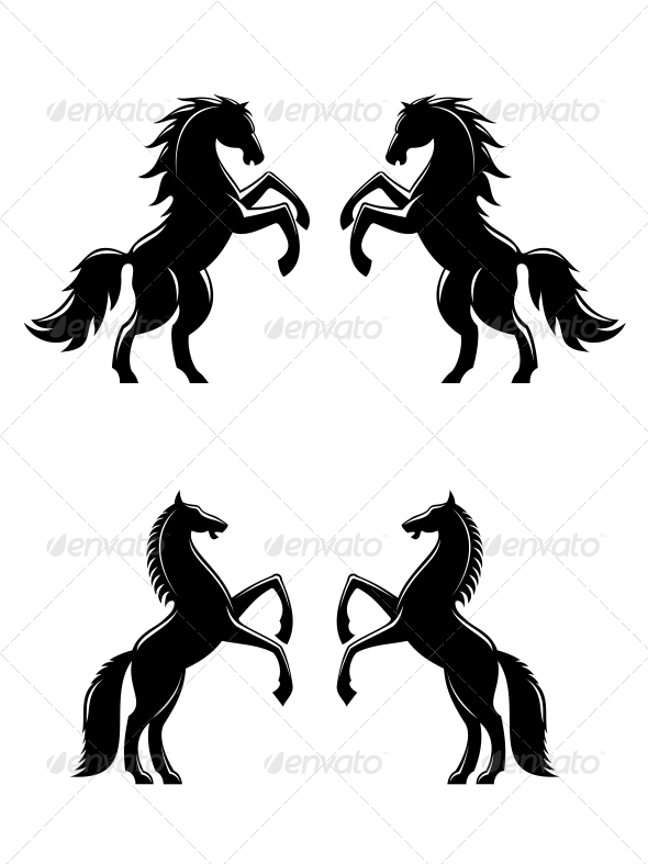 Two Rearing Up Horses Silhouettes - Animals Characters