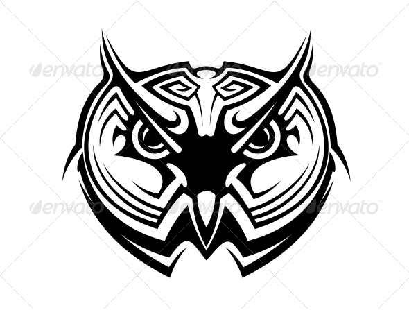 Tribal Owl Tattoo - Animals Characters