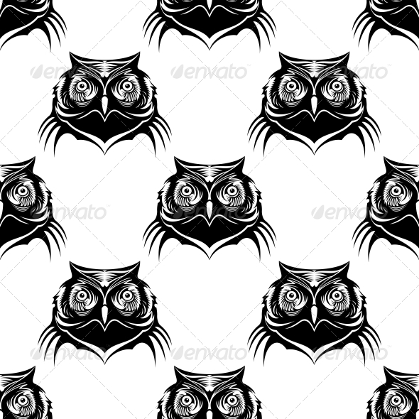 Seamless Pattern Illustration of an Owl Head - Patterns Decorative