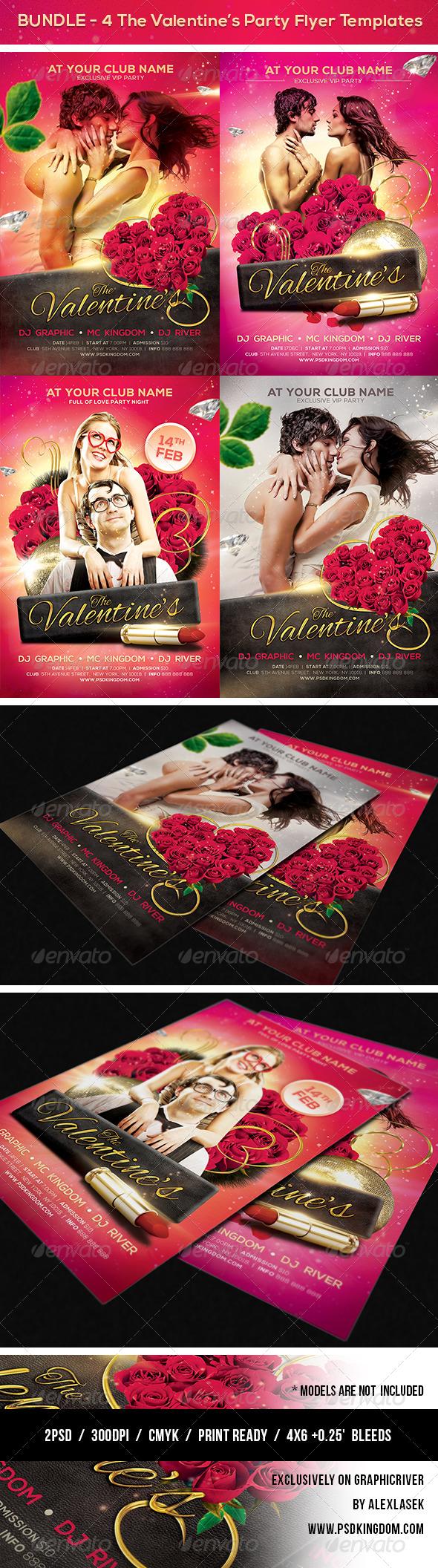 Bundle Valentine's Party Flyer Templates 4x6 - Clubs & Parties Events