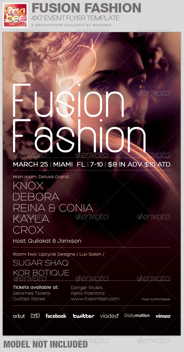Fusion fashion event flyer template by rockibee graphicriver for Fashion flyers templates for free