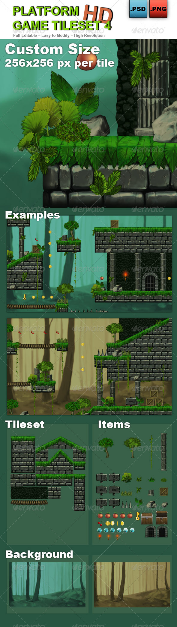 Platform Game Tileset 4: Abandoned Castle - Tilesets Game Assets