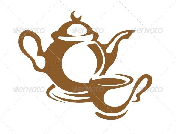 Teapot Cup and Saucer Icon in Brown - Food Objects
