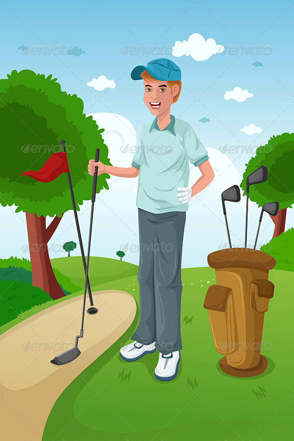 Man Playing Golf - Sports/Activity Conceptual