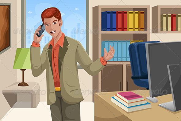 Businessman Talking on the Phone - Business Conceptual