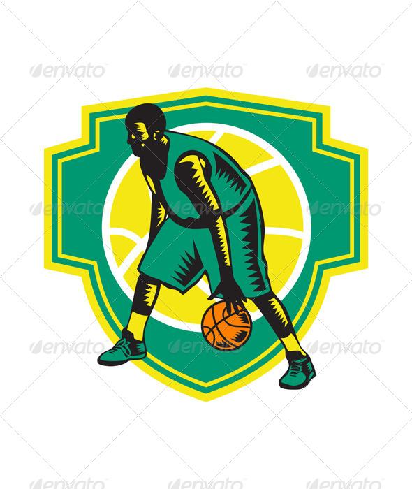 Basketball Player Dribbling Ball Woodcut Shield - Sports/Activity Conceptual