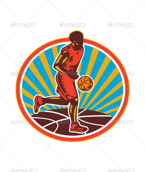 Basketball Player Dribbling Ball Woodcut Retro - Sports/Activity Conceptual