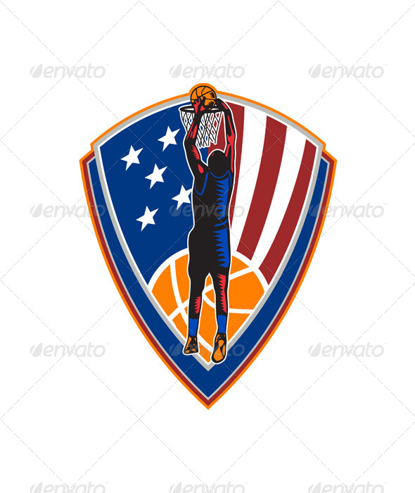 American Basketball Player Dunking Shield Retro - Sports/Activity Conceptual