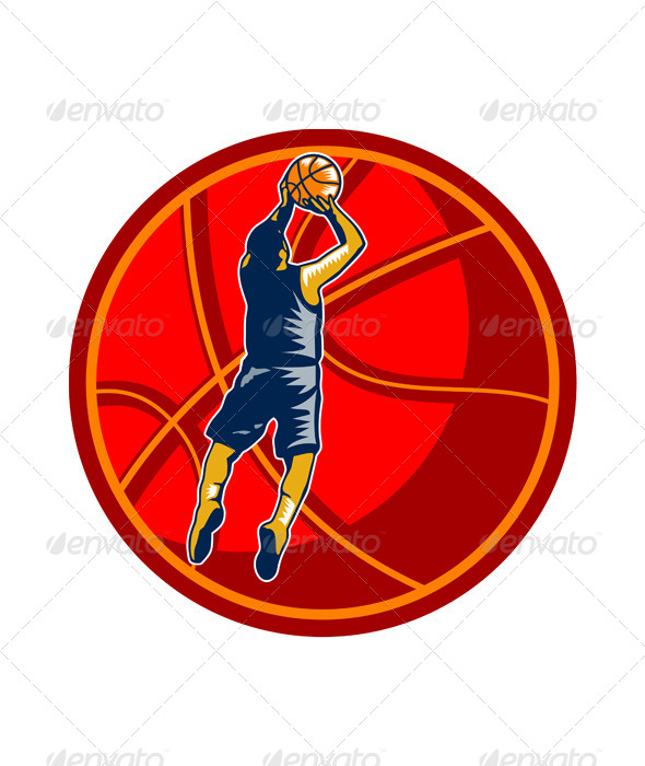 Basketball Player Jump Shot Ball Woodcut Retro - Sports/Activity Conceptual