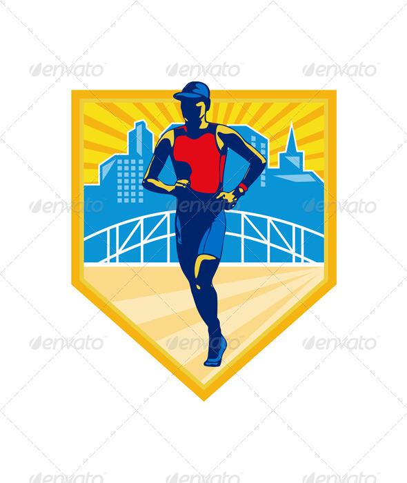 Triathlete Marathon Runner Retro - Sports/Activity Conceptual