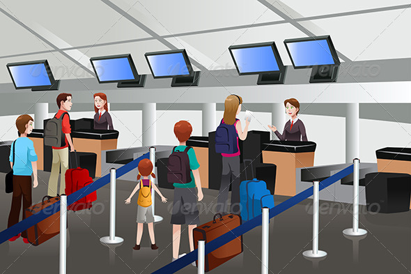 Lining Up at the Check-In Counter in the Airport - Travel Conceptual