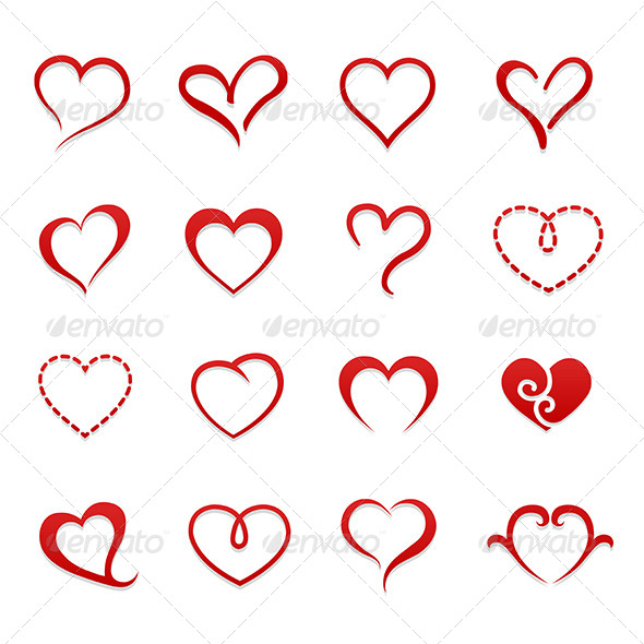 Heart Valentine Symbol Icon Set - Valentines Seasons/Holidays