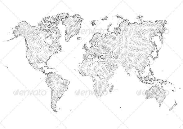 Sketch Illustration of World Map Silhouette - Travel Conceptual