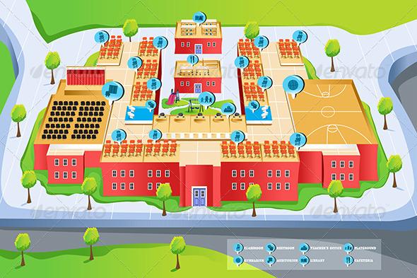 Map of School - Buildings Objects